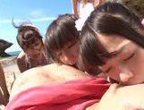 Erotic Japanese AV model in group action on the beach picture 13