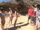 Erotic Japanese AV model in group action on the beach