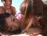 Naughty Japanese AV models in awesome beach gangbang