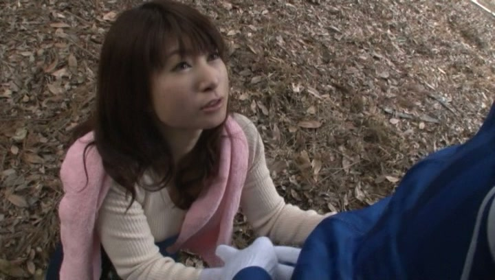 Kinky Japanese mature gives blowjob outdoors picture 12