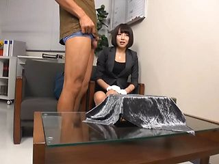 Petite Japanese office girl shows her perfect banging skills