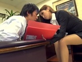Astonishing Asian office lady Ayaka Tomoda masturbates and bounces on rod picture 12