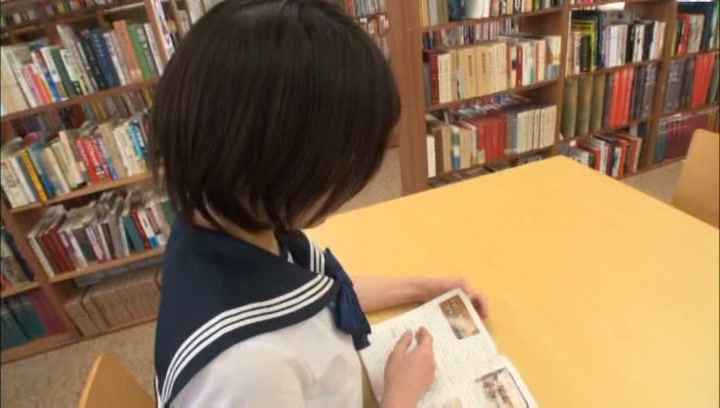 Short-haired Tokyo schoolgirl enjoys hardcore rear banging in a library