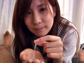 Miyu Akimoto Japanese schoolgirl gives a sweet blowjob