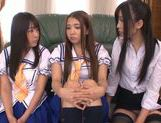 Kinky Japanese teens in schol uniform enjoy group action