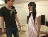 Cute Japanese teen with shaved pussy Yuuki Itano gets rear fuck