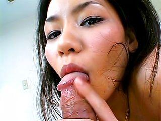 Kaede Asian model sucks cock and swallows jizz