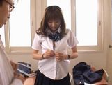 Yuma Asami gets fucked by two guys while wearing a school uniform picture 15