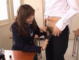 Yuma Asami gets fucked by two guys while wearing a school uniform picture 6