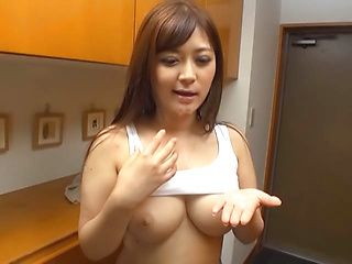 Frisky Japanese AV model is a milf deepthroating hot guy