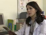 Japanese mature doctor rides cock of her male patient picture 11
