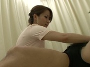 Skillful Japanese mature nurse gives her patient a perfect blow