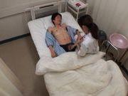 Amateur Japanese nurse gives head at work