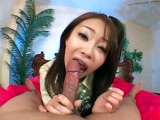 This Japanese model is a hot chick enjoying sex and a creampie