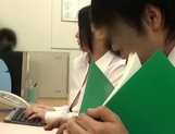 Adorable Japanese office girl with fantastic big tits enjoys hot shagging picture 11