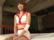Stunning race queen in fancy stockings Seira Matsuoka gets a facial