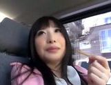 Kinky Japanese teen Arisa Nakano gets screwed in a car picture 11