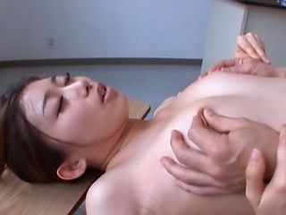 Alluring Asian teacher enjoys dildos and a dick ride