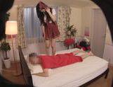 Seductive Japanese AV Model in a school uniform enjoys sex toys picture 12