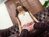 Cute Japanese teen amateur gets her slit teased POV picture 8