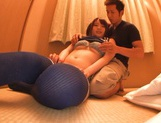 Pigtailed Asian cheerleader Eri Hosaka sucks and rides hard cock picture 9
