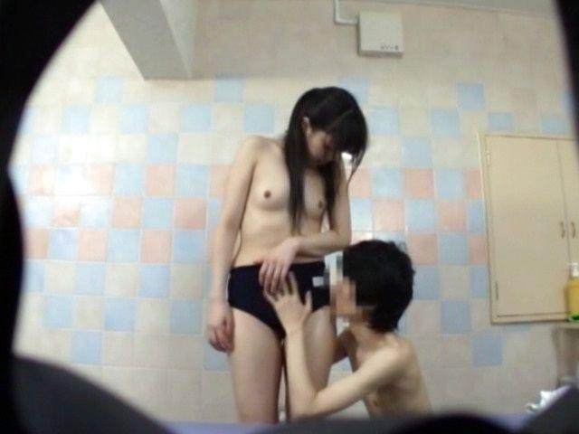 Japanese AV Model nice teen in school uniform gives handjob