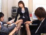 Jun Kusanagi Lovely Asian office girl gets fucked in the office by horny guys picture 4