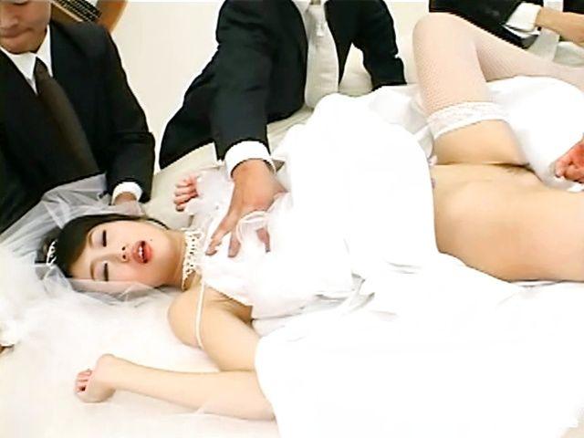 Japanese AV model and three horny guys