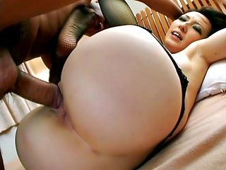 Nasty babe Anno Kiriya takes two cocks in her mouth and a nice creampie.