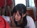 Tsukasa Aoi gang banged in the classroom by horny lads