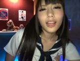 Tempting Japanese teen girl Ayu Sakurai gives a cute pov blowjob picture 15