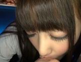 Tempting Japanese teen girl Ayu Sakurai gives a cute pov blowjob