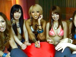Japanese AV Model and friends in five way female gang bang