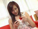 Wild babe Marin Hoshino receives facial cumshot picture 33