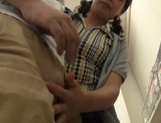 Playful Japanese teen deepthroats her lover and gives a hand job picture 11