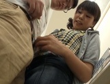 Playful Japanese teen deepthroats her lover and gives a hand job picture 12