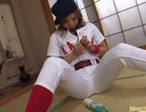 Kana Kawai Asian babe masturbates in baseball uniform picture 8