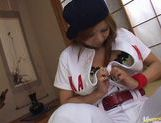 Kana Kawai Asian babe masturbates in baseball uniform