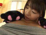 Curvy teen Tsubomi has POV sex in a black kitty costume