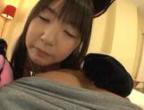 Curvy teen Tsubomi has POV sex in a black kitty costume picture 13