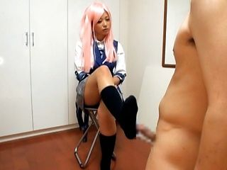 Teen Haruki Satoh Gives A Hot Footjob While In Costume