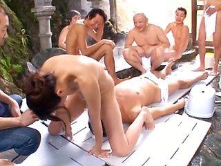 Lucky Guys In A Sauna Get To Gang Fuck Mirei Yokoyama