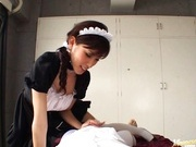 Kinky maid Riko Tachibana makes a hot blowjob and gets cum in mouth.