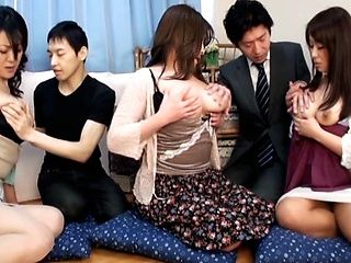Japanese AV Models in kinky masturbation gangbang