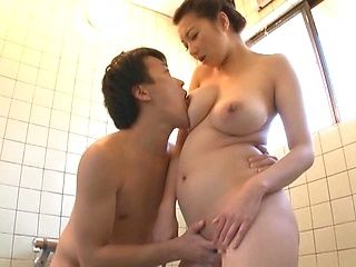 Busty Mio Takahashi enjoys shower fuck with her hubby