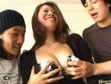 Two young lads bang mature Japanese houswife beauty