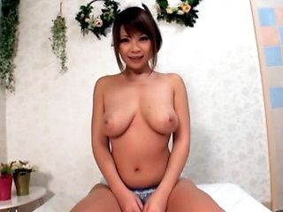 Busty Asian Chick Gives A Blowjob To Make Him Erupt