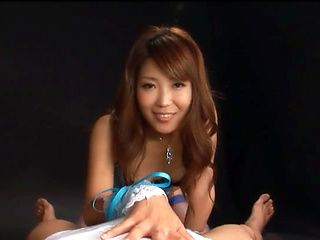 Stunning Asian milf gives blowjob and slurps cum