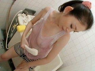Wet clothes under the shower made Miku Hasegawa touch herself