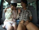 Hot Asian nurse has sex in a car picture 13